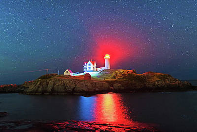 Starry Sky Ove Nubble Light Cape Neddick York Me Print by Toby McGuire