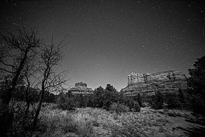 Photograph - Starry Sky Over Bell Rock In Sedona Az Arizona Black And White by Toby McGuire