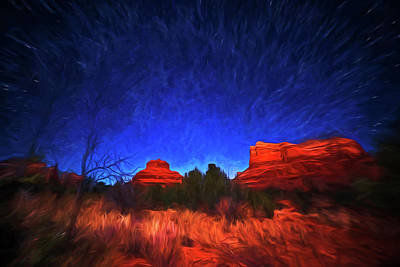 Photograph - Starry Sky Over Bell Rock In Sedona Az Arizona Painterly by Toby McGuire