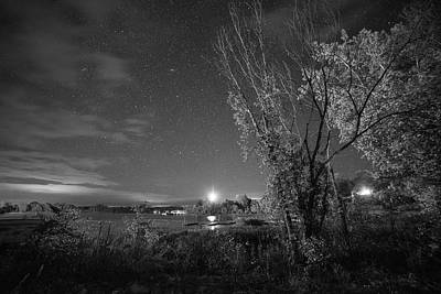 Photograph - Starry Sky Over Lake Champlain New York Black And White by Toby McGuire