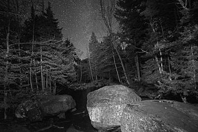 Photograph - Starry Sky Over Marcy Dam Area Keene Valley New York Ny Adirondacks Boulders Black And White by Toby McGuire