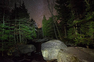 Photograph - Starry Sky Over Marcy Dam Area Keene Valley New York Ny Adirondacks Boulders by Toby McGuire