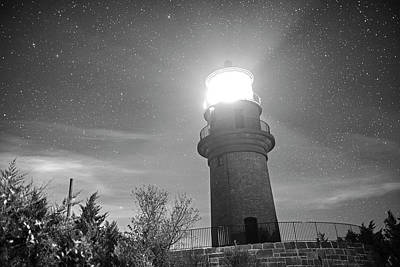 Photograph - Starry Sky Over The Gay Head Lighthouse Aquinnah Ma Cape Cod Martha's Vineyard  Black And White by Toby McGuire