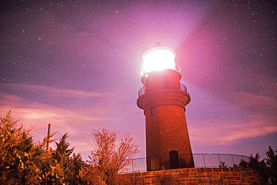 Photograph - Starry Sky Over The Gay Head Lighthouse Aquinnah Ma Cape Cod Martha's Vineyard  by Toby McGuire
