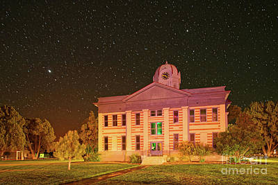 Photograph - Starry Sky Over The Jeff Davis County Courthouse - Fort Davis West Texas by Silvio Ligutti