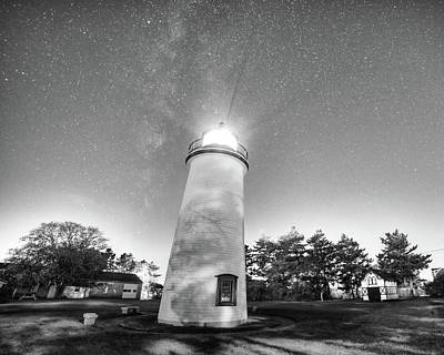 Photograph - Starry Sky Over The Newburyport Harbor Light Black And White by Toby McGuire