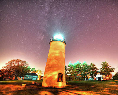 Starry Sky Over The Newburyport Harbor Light Art Print
