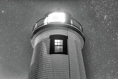 Photograph - Starry Sky Over The Newburyport Harbor Light Window 2 Black And White by Toby McGuire