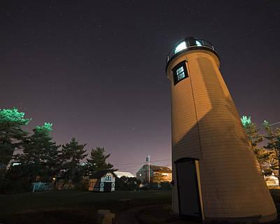Starry Sky Over The Newburyport Harbor Light Window Art Print by Toby McGuire