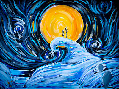 Tim Painting - Starry Spiral Hill Night by Marisela Mungia