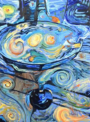 Bartender Painting - Starry Starry Martini by Donna Tuten