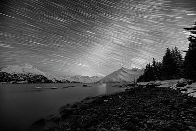 Photograph - Starry Starry Night Bw by Ted Raynor