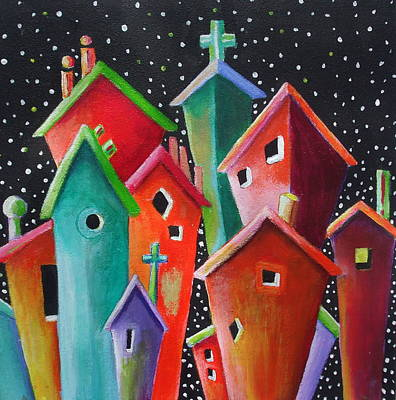 Janet Telander Painting - Starry Starry Night In The Little City Number Four by Janet  Telander