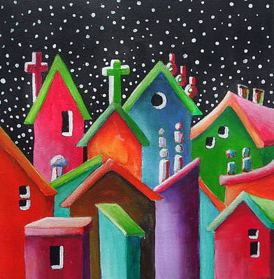 Janet Telander Painting - Starry Starry Night In The Little City Number One by Janet  Telander