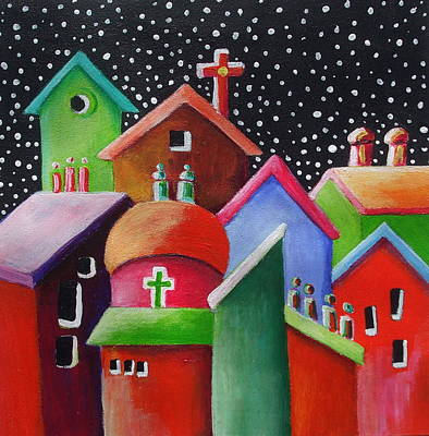 Janet Telander Painting - Starry Starry Night In The Little City Number Three by Janet  Telander