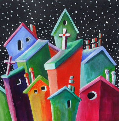 Janet Telander Painting - Starry Starry Night In The Little City Number Two by Janet  Telander