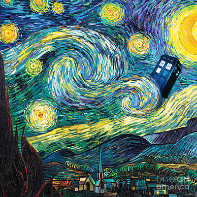 Fandom Painting - Starry Tardis Art Painting by Vika Chan