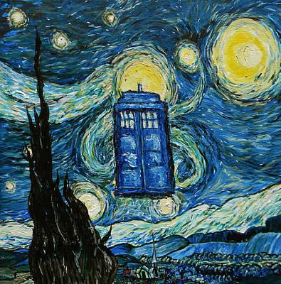 Tardis Painting - Starry Tardis by Sabrina Zbasnik