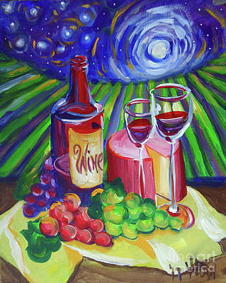 Concord Grapes Painting - Starry Wine by Vanessa Hadady BFA MA