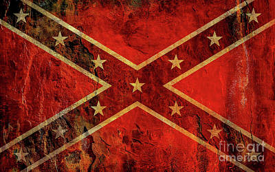 Stars And Bars Confederate Flag Art Print by Randy Steele