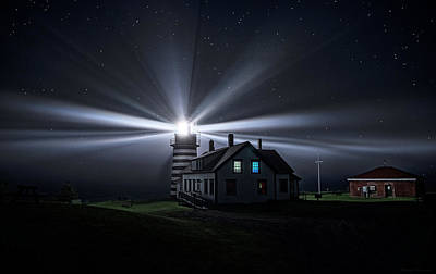 Photograph - Stars And Light Beams - West Quoddy Head Lighthouse by Marty Saccone