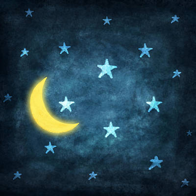 Stars And Moon Drawing With Chalk Art Print by Setsiri Silapasuwanchai