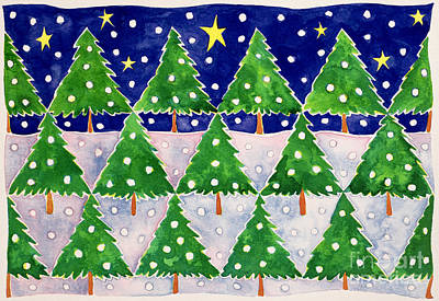 Snowed Trees Painting - Stars And Snow by Cathy Baxter