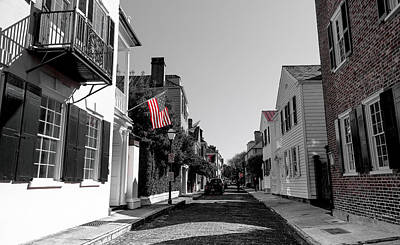 Photograph - Stars And Stripes- Church St Charleston Sc by Donnie Whitaker