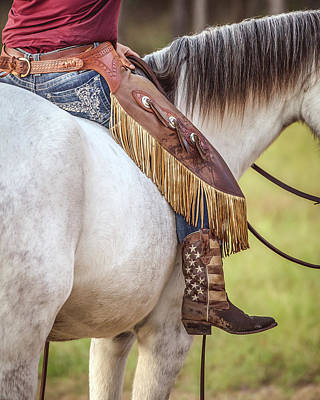 Photograph - Stars And Stripes Cowgirl by Fast Horse Photography