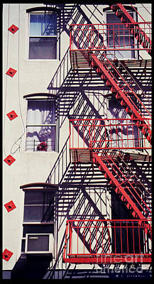 Photograph - Stars And Stripes - Fire Escapes Of New York by Miriam Danar