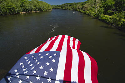 Stars And Stripes Flies Over The Delaware River Art Print by George Oze