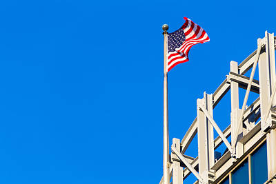 Photograph - Stars And Stripes Negative Space Blue Sky by Steven Green