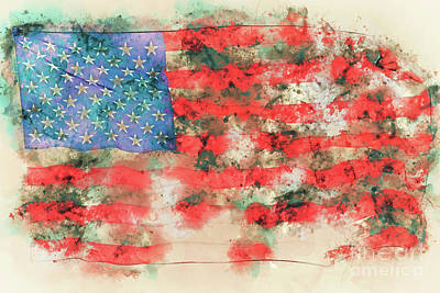 Painting - Stars And Stripes Watercolor by Delphimages Photo Creations