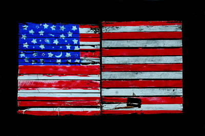 Wood Pallet Flag Photograph - Stars And Stripes Wooden Pallets by James DeFazio