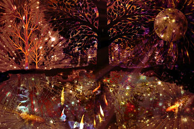 Hand Thrown Digital Art - Stars And Trees And Magical Things by Darin Baker