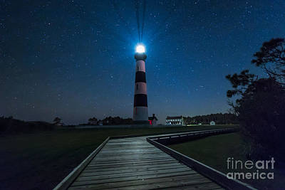 Photograph - Stars At Bodie Island Light House by Robert Loe