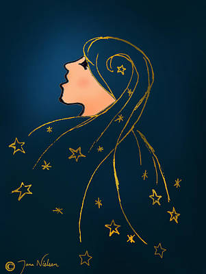 Young Woman Wall Art - Photograph - Stars In Her Hair by Jana Nielsen