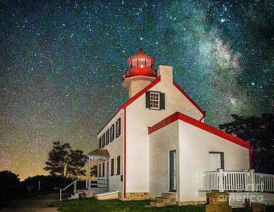 Photograph - Stars Of The Milky Way Over East Point Light by Nick Zelinsky