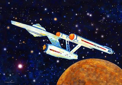 Painting - Starship Enterprise by Douglas Castleman