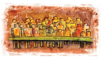 Triathlon Painting - Start Line On Yellow by Alejandro Maldonado