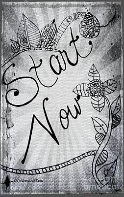 Drawing - Start Now by Rachel Maynard