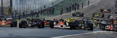 Andretti Painting - Start Of Grand Prix Spain 1978 by Artem Oleynik