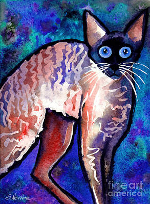 Watercolor Pet Portraits Wall Art - Painting - Startled Cornish Rex Cat by Svetlana Novikova