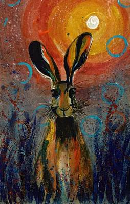 Sparkly Painting - Startled Hare  by Carole Hall
