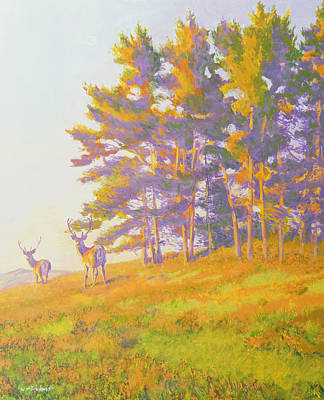 Grazing Elk Painting - Startled by William Ireland