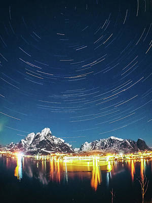 Photograph - Startrails Above Reine by Alex Conu