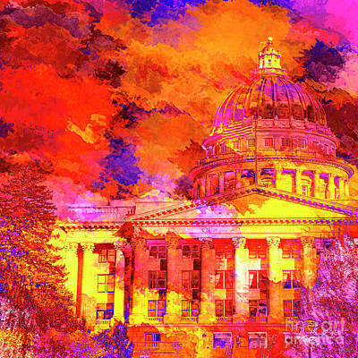 Mixed Media - State Capitol Of Utah by David Millenheft