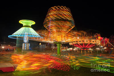 Sizzler Photograph - State Fair Rides At Night I by Clarence Holmes