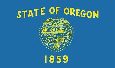 Oregon State Painting - State Flag Of Oregon by American School