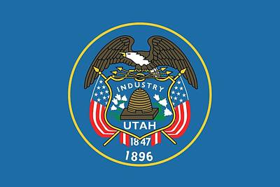 American Eagle Painting - State Flag Of Utah by American School